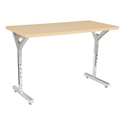 Adjustable-Height Y-Frame Two Student Desk - Sugar Maple