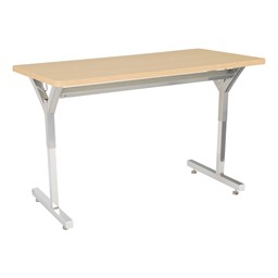 Adjustable-Height Y-Frame Two-Student Desk and 18-Inch Profile Series School Chair Set - Desk - Sugar Maple