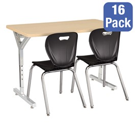 "Adjustable-Height Y-Frame Two-Student Desk & 18"" Shapes Series School Chair Set – Desks/Chairs for 16 Students"