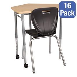 """CommunEDI Collaborative Desk & 18\"""" Shapes Series School Chair Set – 16 Desks/Chairs"""