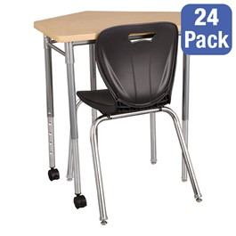 "CommunEDI Collaborative Desk & 18"" Shapes Series School Chair Set – 24 Desks/Chairs"
