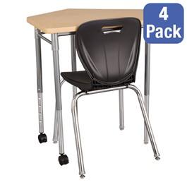 """CommunEDI Collaborative Desk & 18\"""" Shapes Series School Chair Set – Four Desks/Chairs"""