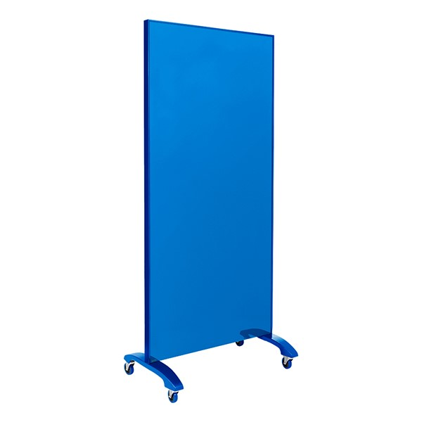 """Double-Sided Tempered Glass Partition (36"""" L x 60"""" H) - Blue"""