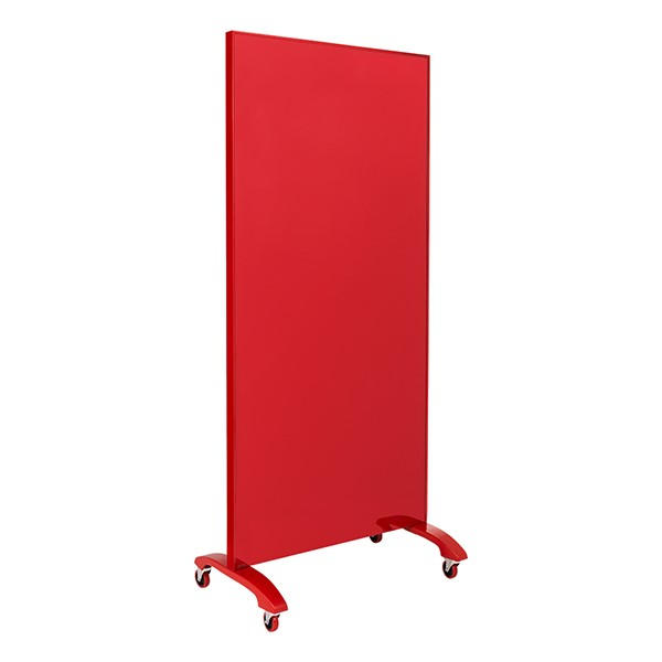 "Double-Sided Tempered Glass Partition (36"" L x 60"" H) - Red"
