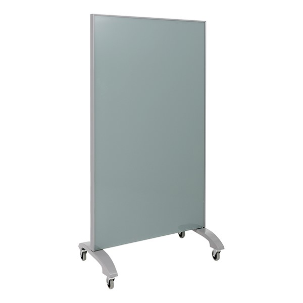 "Double-Sided Tempered Glass Partition (36"" L x 60"" H) - Gray"