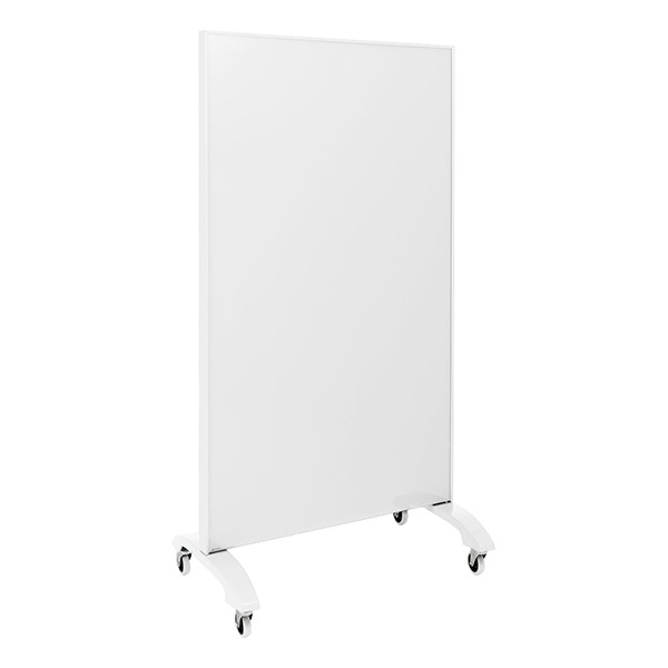 "Double-Sided Tempered Glass Partition (36"" L x 60"" H) - White"