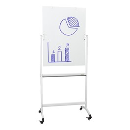 """Double-Sided Mobile Dry Erase Glass Easel - (30\"""" W x 40\"""" H)"""