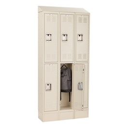 Deluxe Three-Wide Double-Tier School Lockers w/ Slope Top & Kickplate - Tan