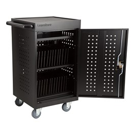 Structure Series 30-Device Tablet Charging Cart w/ Electric (Black) - Open