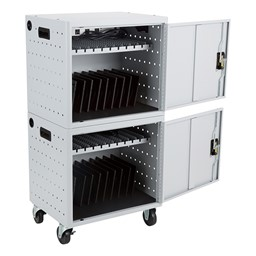Shapes Series 12-Device Wall-Mount Charging Cabinet – Set of Two w/ Stacking Mobility Kit - Shown w/ tablets (not included)