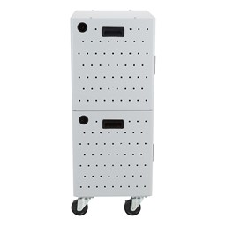 Shapes Series 12-Device Wall-Mount Charging Cabinet – Set of Two w/ Stacking Mobility Kit - Side