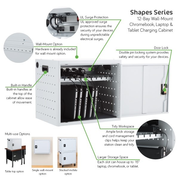 Shapes Series 12-Device Wall-Mount Chromebook, Laptop and Tablet Charging Cabinet - Features