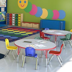"""Pack of Four Assorted Colors Structure Series Preschool Chair (12"""" Seat Height) - Environmental shot"""