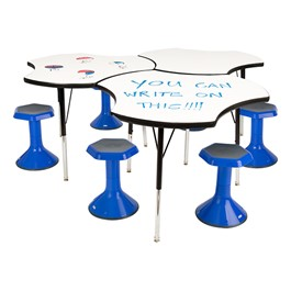 """Cog Collaborative Table w/ Whiteboard Top & 18\"""" Active Learning Stool Set"""