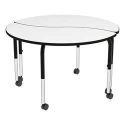 Shapes Series Circular Wave Collaborative Table w/ Whiteboard Top - Grouped