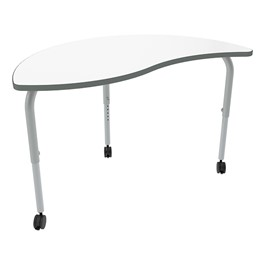 Shapes Series Circular Wave Collaborative Table w/ Whiteboard Top - Silver Mist Edge & Legs
