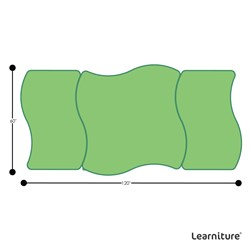 Shapes Series Square Wave Collaborative Table w/ Whiteboard Top - Grouped Footprint