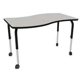 Shape Series Rectangular Wave Collaborative Table w/ HPL Top - Gray nebula top w/ black edge & legs