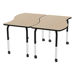 Shapes Series Rectangular Wave Collaborative Table w/ HPL Top - Grouped