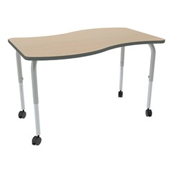 Shape Series Rectangular Wave Collaborative Table w/ HPL Top - Maple top w/ black edge & silver mist legs