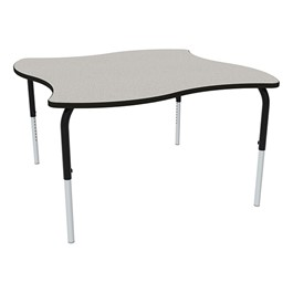 Shapes Series Square Wave Collaborative Table w/ HPL Top - Gray nebula top w/ black edge & legs