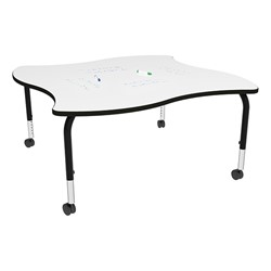 Shapes Series Square Wave Collaborative Table w/ Whiteboard Top - Black Edge & Legs