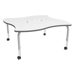 Shapes Series Square Wave Collaborative Table w/ Whiteboard Top - Silver Mist Edge & Legs