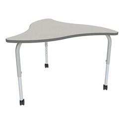 Shapes Series Triangular Wave Collaborative Table w/ HPL Top - Gray top w/ silver mist edge & leg