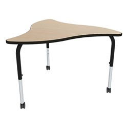 Shapes Series Triangular Wave Collaborative Table w/ HPL Top - Maple top w/ black edge & leg