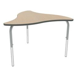Shapes Series Triangular Wave Collaborative Table w/ HPL Top - Maple top w/ silver mist edge & leg