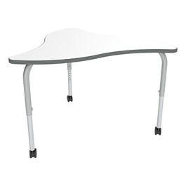 Shapes Series Triangular Wave Collaborative Table w/ Whiteboard Top - Silver Mist Edge & Leg