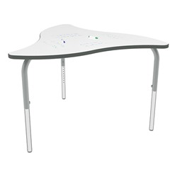 Shapes Series Triangular Wave Collaborative Table w/ Whiteboard Top - Silver Mist Edge & Legs - Shown w/ Glides