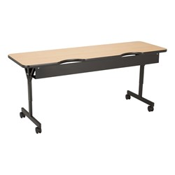 "Computer Table w/ HPL Top & T-Legs (72"" W x 24"" D) - Maple - Back"