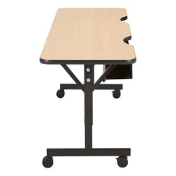 "Computer Table w/ HPL Top & T-Legs (72"" W x 24"" D) - Maple - Casters"