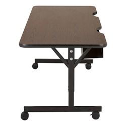 """Computer Table w/ HPL Top & T-Legs (72"""" W x 30"""" D) - Walnut - Casters"""