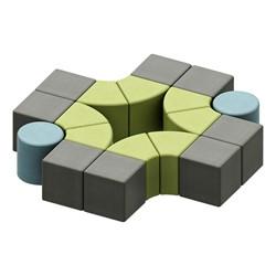 Shapes Series II Vinyl Soft Seating - Cylinder (blue crosshatch) - Cube (gray crosshatch) - Wedge (green crosshatch)
