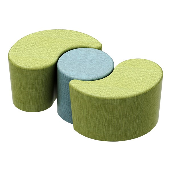 Shapes Series II Vinyl Soft Seating - Teardrop (green crosshatch) - Cylinder (blue crosshatch)
