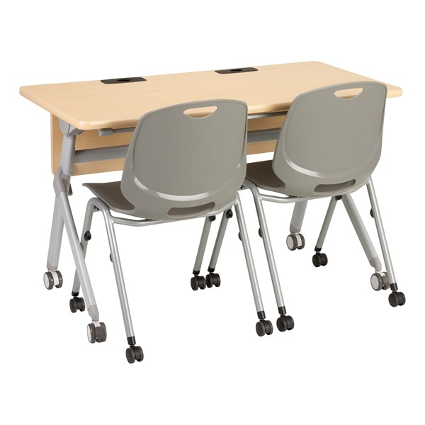 """Profile Series Mobile Flipper Table w/ Modesty Panel & Ganging Brackets (48"""" L x 24"""" W) (Chairs not included.)"""