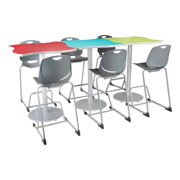 Square Wave Designer Café Table w/ Round Base - Grouped