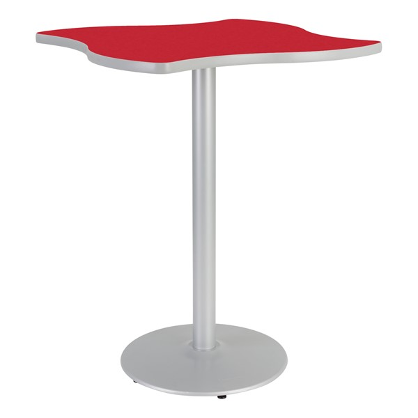 Square Wave Designer Café Table w/ Round Base - Hollyberry