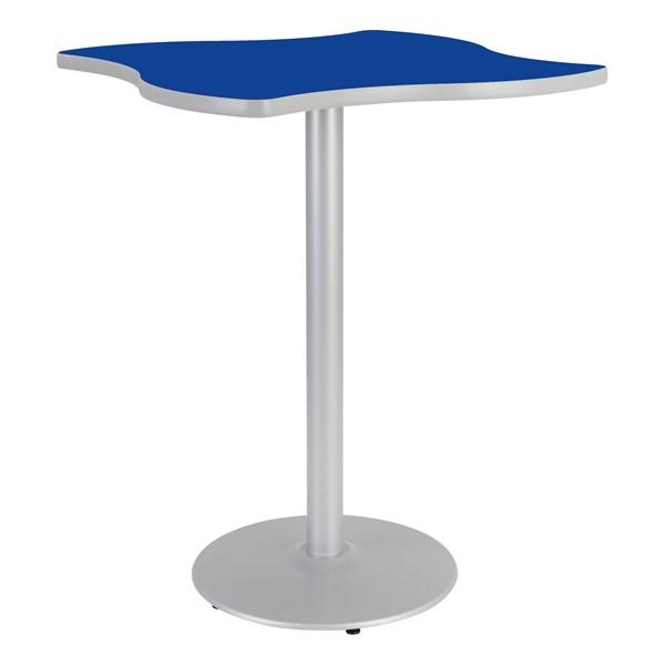 Square Wave Designer Café Table w/ Round Base - Lapis Blue