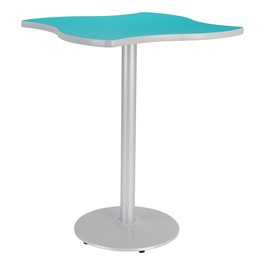 Square Wave Designer Café Table w/ Round Base - Ocean