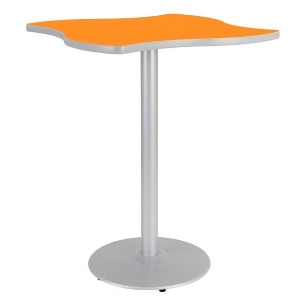 Square Wave Designer Café Table w/ Round Base - Orange Grove