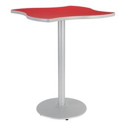 Square Wave Designer Café Table w/ Round Base - Regimental Red