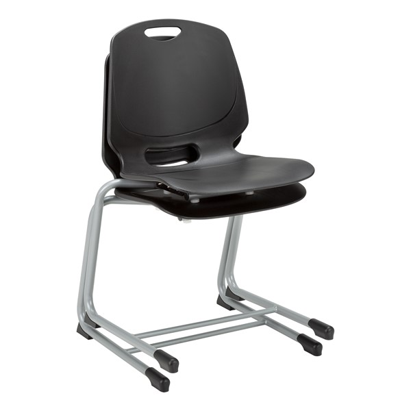 Academic Cantilever Stacking Chair - Black, stacked
