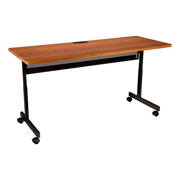 """Adjustable-Height Computer Desk w/ Electrical & USB Option  (24"""" W x 60"""" L) - Cherry"""