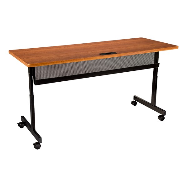 """Adjustable-Height Computer Desk w/ Electrical & USB Option  (24"""" W x 60"""" L) - Cherry front"""