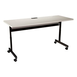 "Adjustable-Height Computer Desk w/ Electrical & USB Option  (24"" W x 60"" L) - Gray"