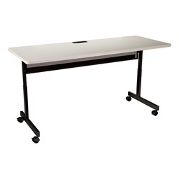 """Adjustable-Height Computer Desk w/ Electrical  & USB Option (24"""" W x 48"""" L) - Gray"""