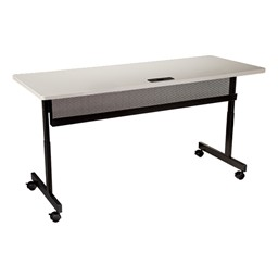 """Adjustable-Height Computer Desk w/ Electrical  & USB Option (24"""" W x 48"""" L) - Gray front"""